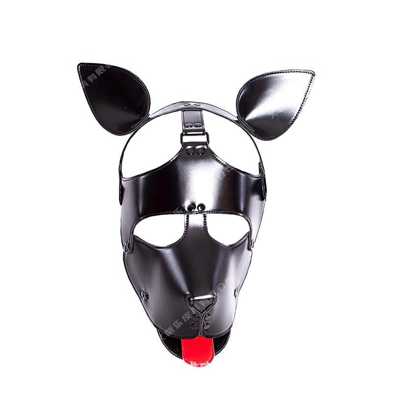 New Leather Dog Bdsm Mask Bondage Hood Cosplay Mask Slave Head Harness Adult Games For Couples Fetish Sex Products Flirting Toys цена