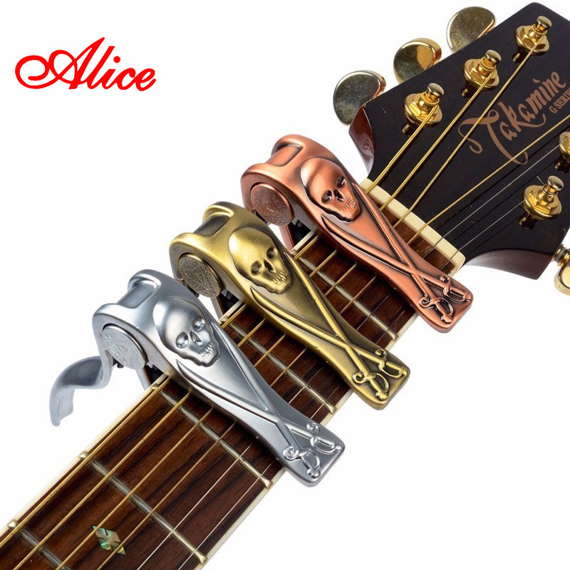 Alice Brand Capo For Acoustic Classical Electric Guitar Skull Style High Quality Aluminum Alloy Guitarra Capos A007H fct 81 aluminum alloy capo for folk classic electric guitar black silver