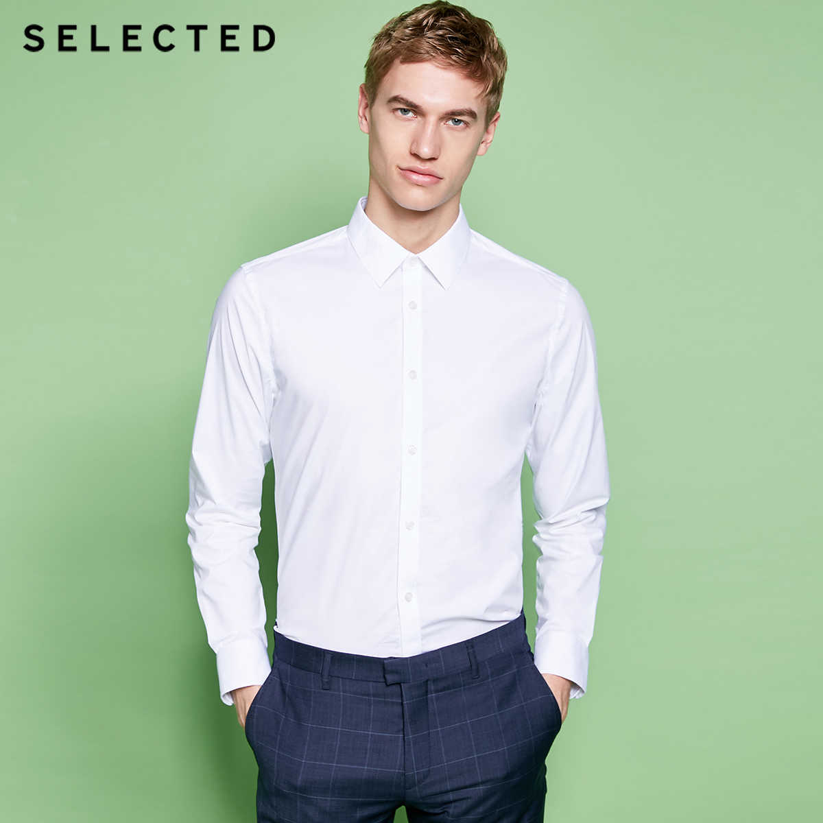 נבחר חדש גברים של כותנה מיקרו אלסטי טיפ צווארון fit עסקים ארוך שרוולים חולצת T | 418205516