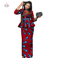 new africa dashiki skirt set african traditional clothing for women Bazin Riche plus size skirt set print ladies clothes WY3887