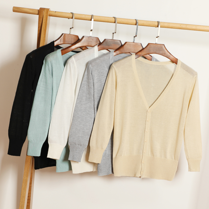 15 Colors Summer Female Knit Thin Cardigan Sweater Coat Short Female Knitted Jacket Women