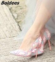 Boldees שתוקנה עננים מתוק נשים עקבים גבוהים סקסית מחודד משאבות העקב פגיון די בנות להחליק על מסיבת חתונה נעלי