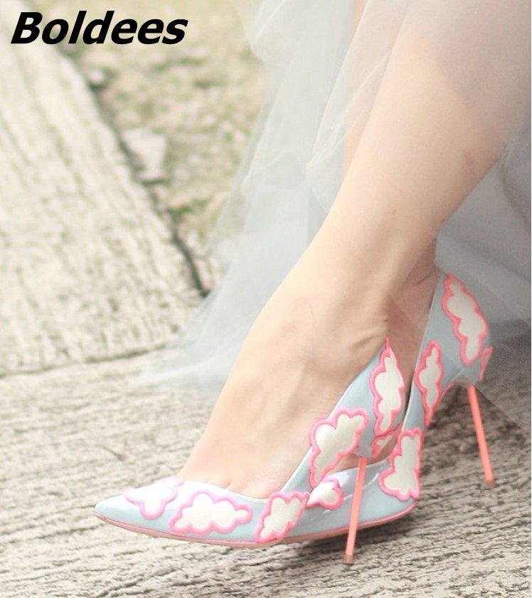 Boldees Sweet Clouds Patched High Heels Women Sexy Pointy Stiletto High Heel Pumps Pretty Girls Slip-on Wedding Party Shoes