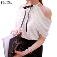 Blusas 2015 Summer Style Halter Neck Bowknot Shirts Elegant Women Ladies Sexy Off Shoulder Blouses Casual
