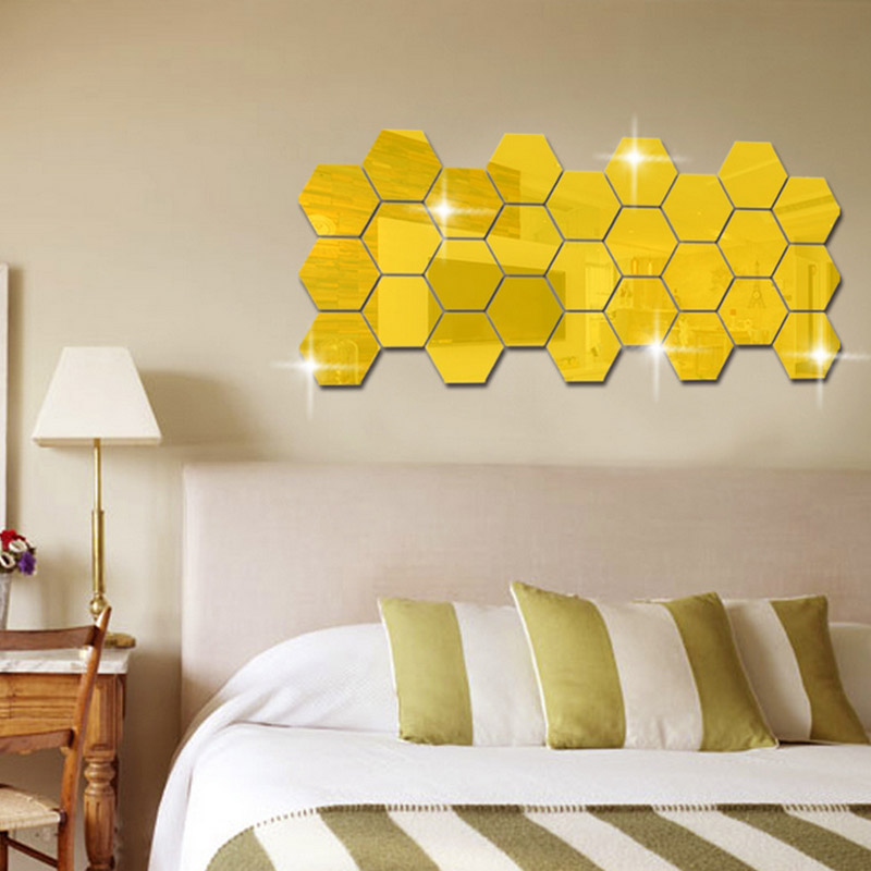 Hot 12Pcs 3D Hexagon Acrylic Mirror Wall Stickers DIY Art Wall Decor Stickers Living Room Mirrored Sticker Gold Home Decor(China)