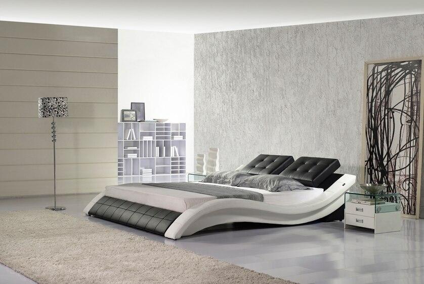 Schlafzimmer Möbel Designer Moderne Echt Echtem Leder Bett/weichen Bett/doppelbett King/queen-size Schlafzimmer Wohnmöbel Heißer Verkauf Amerikanischen Stil Wohnmöbel