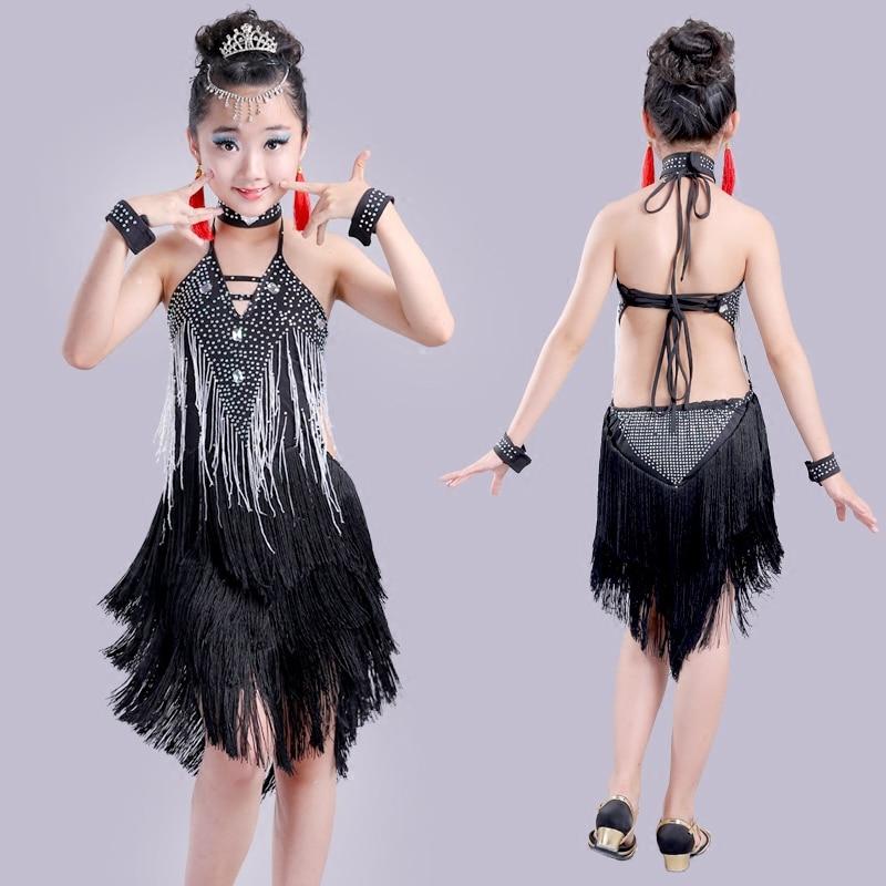 Children Latin Dance Dress Girl Tassel Latin Dance Costume Kids Clothes Ballroom Competition Dresses Child Tango Dancewear 90