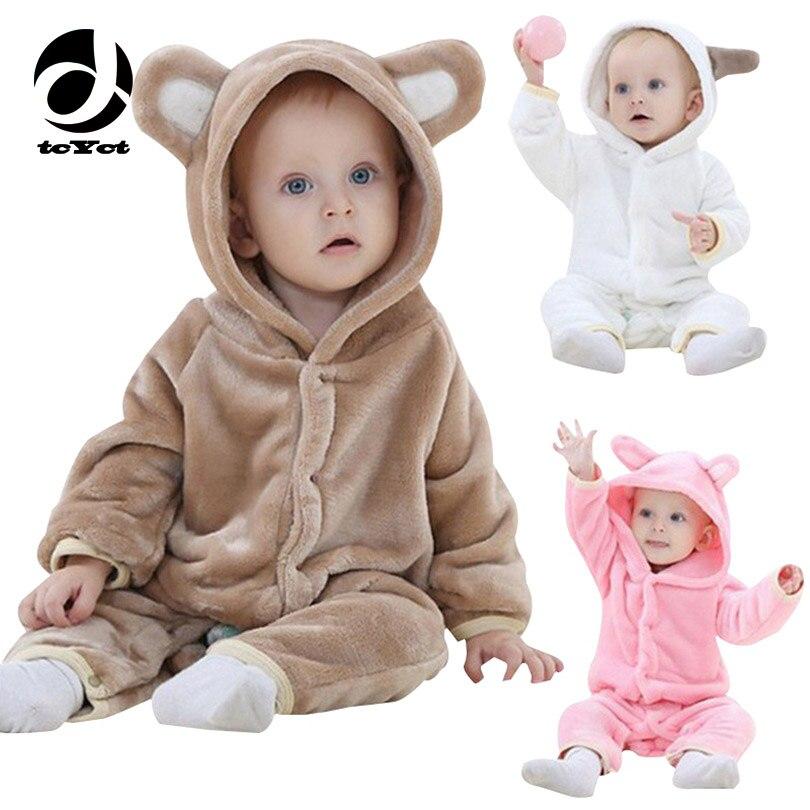 TcYct младенческой ползунки для маленьких мальчиков Спортивный костюм для девочек Медведь новорожденного bebe/одежда с капюшоном одежда для ма...