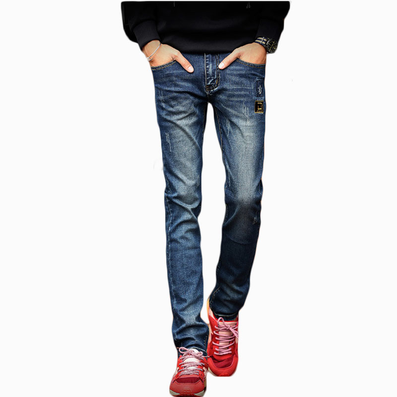 Mens Winter plus velvet thickening warm jeans male feet stretch Jeans stretch pants ZL795