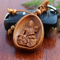 1pcs Classic Handmade Carved Religious Bodhisattva rosewood Car small pendant Bag Purse Keychain with alloy ring