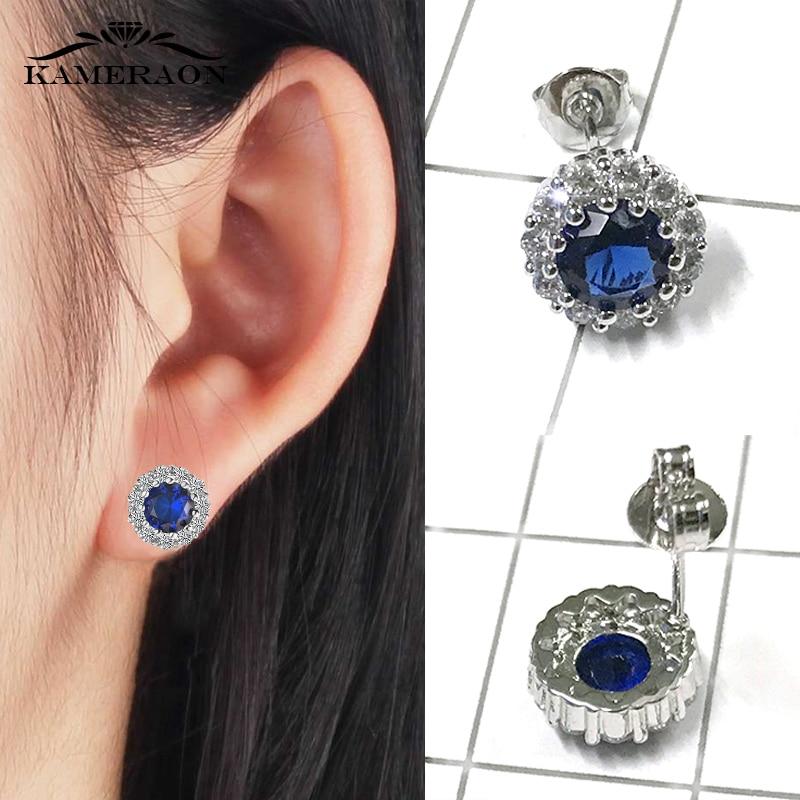 women's Earrings Chamomile Dorea Fashion Geometry Studs Zirconia Earrings Cute Blue Stone Minimalism Piercing Earrings For Wife