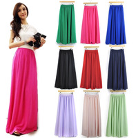 Cheap Price High Quality Fashion Womens Candy Color High Waist Elastic Waist Chiffon Full Long Maxi