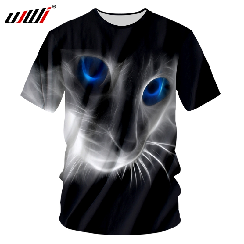 UJWI T-shirt Male Fashion Short Sleeve 3D Tshirt Print A cat with blue eyes Streetwear <font><b>6XL</b></font> Tops Tees <font><b>Hombre</b></font> Spring T Shirts image