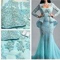 Light Blue Evening Dresses 2016 Abendkleider Mermaid Long Evening Dresses Sleeves Robe De Soiree Beads Evening Gowns Applique