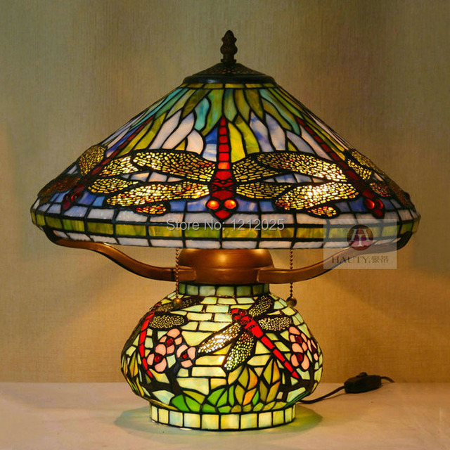 Antique Tiffany Style Dragonfly Table Lamp Double Lit Lights Stained Glass  Lampshade Living Room Bedroom