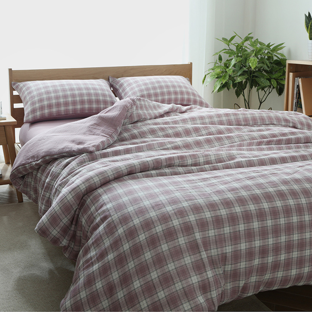 Chausub New An Style Plaid Bed Linens Duvet Cover Cotton Bedding Set 4pcs Plain Sheets Queen King Size Pink Gray