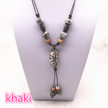 Fashion Ceramics Beads Pendant Ethnic Long Necklace Chain Blue/green/Khaki Jewelry Style DIY #B(China)