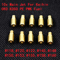 Nouveau Set 10 Jet principal pour Keihin OKO KOSO PE PWK carburateur disponible taille 118,120,122,145,148,150,152,155,158,160 (10 pièces ensemble)