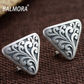 BALMORA Vintage Style 100% Real 990 Pure Silver Jewelry Triangular Clip Earrings for Women Lover Party Gifts Aretes SY31005