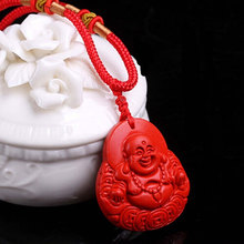 Фотография The natural red cinnabar smiling Buddha Pendant Necklace all-match Maitreya Buddha Buddha money