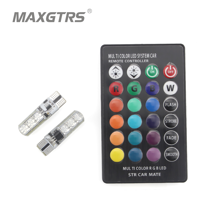 2x T10 W5W 168 194 SMD 6-LED 5050 Remote Control RGB Car Reading Wedge Lights For Car Tail Light Side Parking Door Lighting
