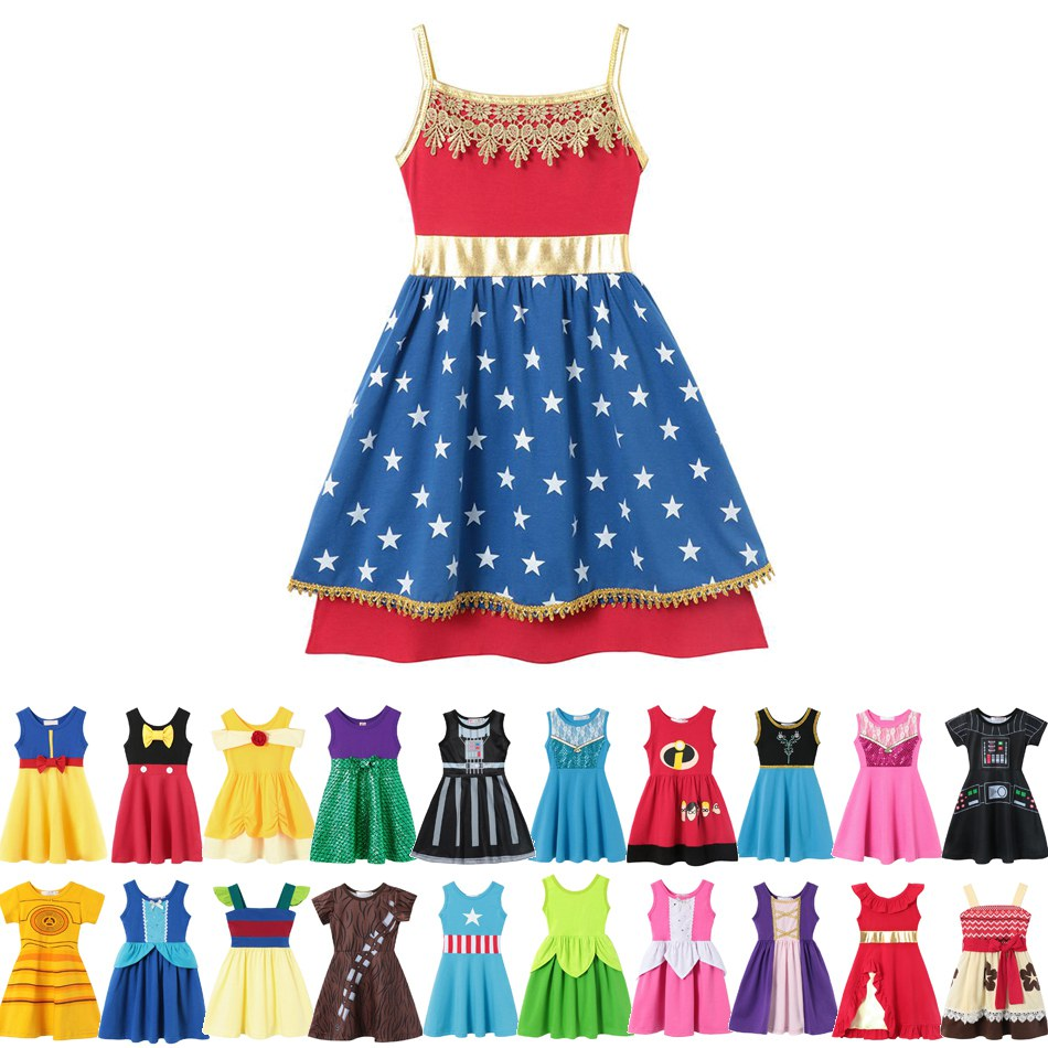 81b48fc63 Vestido de niña Ariel Elsa Anna Mickey Belle blanco nieve Rapunzel algodón  cumpleaños princesa ...