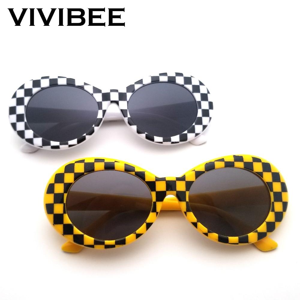 VIVIBEE Plaid Kurt Cobain Glasses Nirvana Small Yellow Brand Vintage Style Oval Clout 2019 Hip Hop Women Sunglasses Women Shades