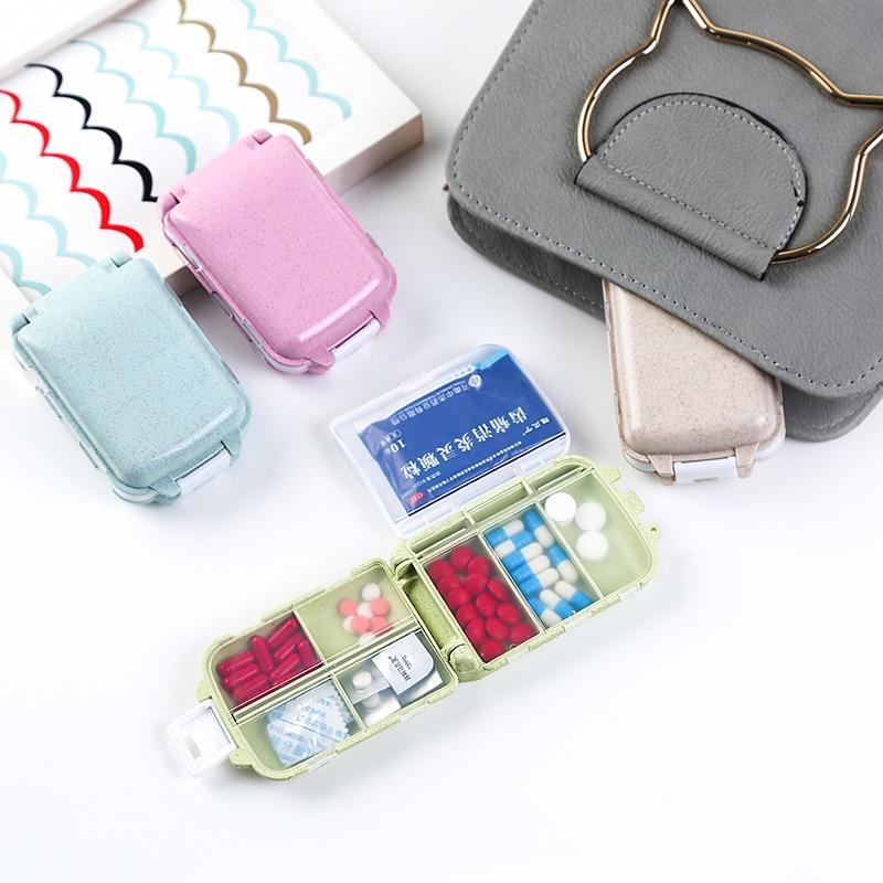 3 Layers Portable Mini Folding Pill Box Organizer Wheat Stalks Travel Tablet Medicine Storage Dispenser Holder Health Care Tool in Storage Boxes Bins from Home Garden