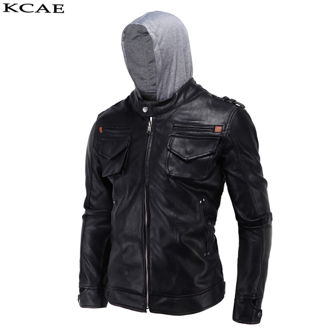 Leather Jacket Men Slim Short Stand Collar Bomber men Jacket PU Leather Hooded  Coat 2016 New Autumn winter