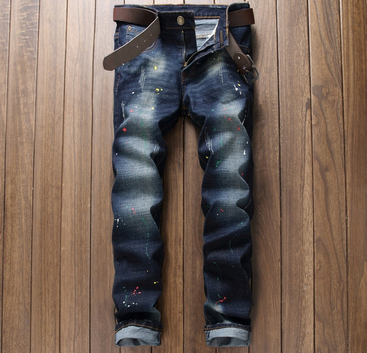 European American Style 2016 luxury brand Men's jeans cotton slim Straight denim trousers fashion Paint black blue jeans for men цены онлайн