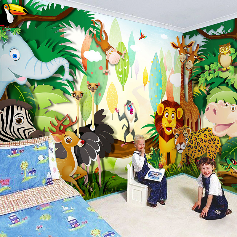 Custom 3D Photo Wallpaper Forest Animals Lion Tiger Giraffe Large Mural Cartoon Kids Room Kindergarten Wall Decoration Sticker