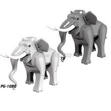 Bonito animal única venda elefante figura blocos de construção conjunto modelo tijolos brinquedo educativo para crianças