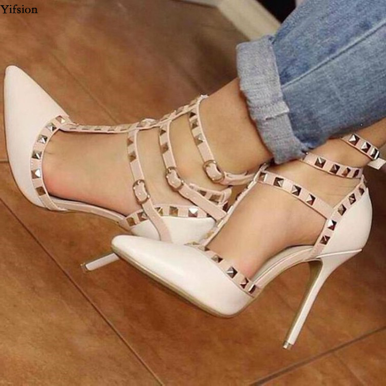 Olomm Women Gladiator Pumps Sexy Rivets Thin High Heels Pumps Pointed Toe Gorgeous Beige Party Shoes