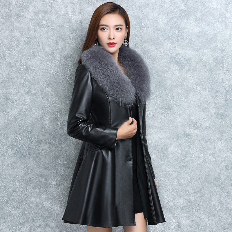 S-4XL Women   Leather   Jacket Winter Coat 2019 New Arrival Fashion Big Fur Collar Solid Plus Cotton Warm Women's   Leather   Jackets