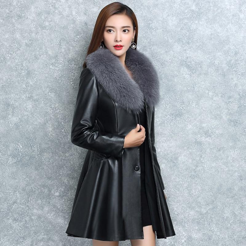 S-4XL Women   Leather   Jacket Winter Coat 2019 New Arrival Fashion Big Fur Collar Solid Plus Cotton Warm Women's   Leather   Jackets