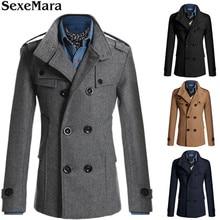 2017 Spring Autumn Winter Cashmere Coat Jacket Men Manteau Male Medium Long Wool Covercoat Leisure Wear
