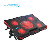 Coolcold laptop cooling pad stand high quality laptop cooler with 2 usb adjustable notebook cooler fan stand with LED light 17