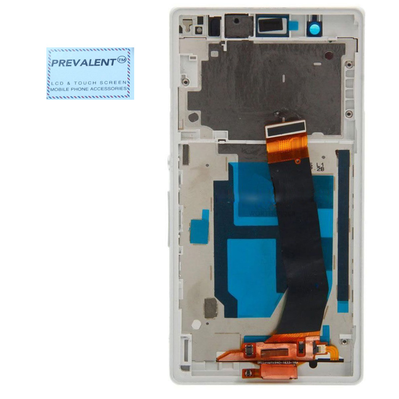 Per Sony Xperia Z L36H L36i C6606 C6603 C6602 C660X C6601 Touch Screen del Pannello Digitizer + Display LCD Assembly Bianco telaio