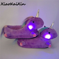 Unisex Glowing Unicorn Plush Slippers for Women&Teenage Winter Warm PP Cotton Indoor LED Light Fluffy Slippers Chausson Licorne