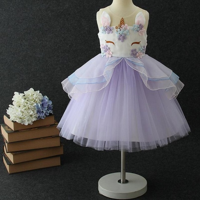 5d167aa5bb86 Girls Princess Unicorn Costume Tulle Tutu Dress Summer Sleeveless Costume  Birthday Party Fancy up Dress Vestidos