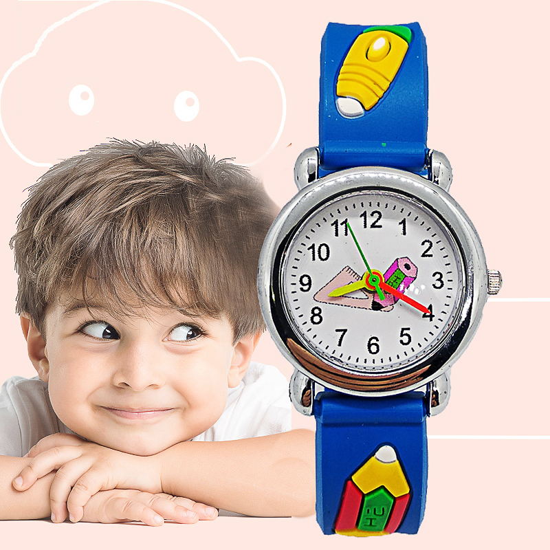 Fashion Kids Watches Good Quality Cartoon Students Triangle Ruler Pencil Children Watch For Child Boy Girl Clock Christmas Gift