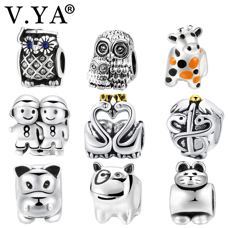 Jewelry & Accessories V.ya Cow/owl/cat/saw Animal Charms Beads Fits For Original European Bracelet Bangle Children Women Men Bead For Jewelry Making Attractive Appearance Beads & Jewelry Making