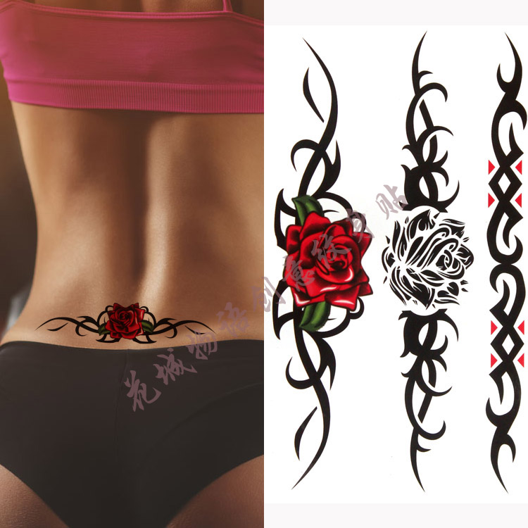 Colorful beautifulred rose flower <font><b>Body</b></font> Art Waterproof fake <font><b>sexy</b></font> For Woman Flash TemporaryTattoo <font><b>Stickers</b></font> 10*20CM KD361 image