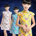 Little Girl Party Dresses 2017 Kids Clothes Girls Summer Chinese Style Flower Short Seleeve Princess Costume Rapunzel Dress