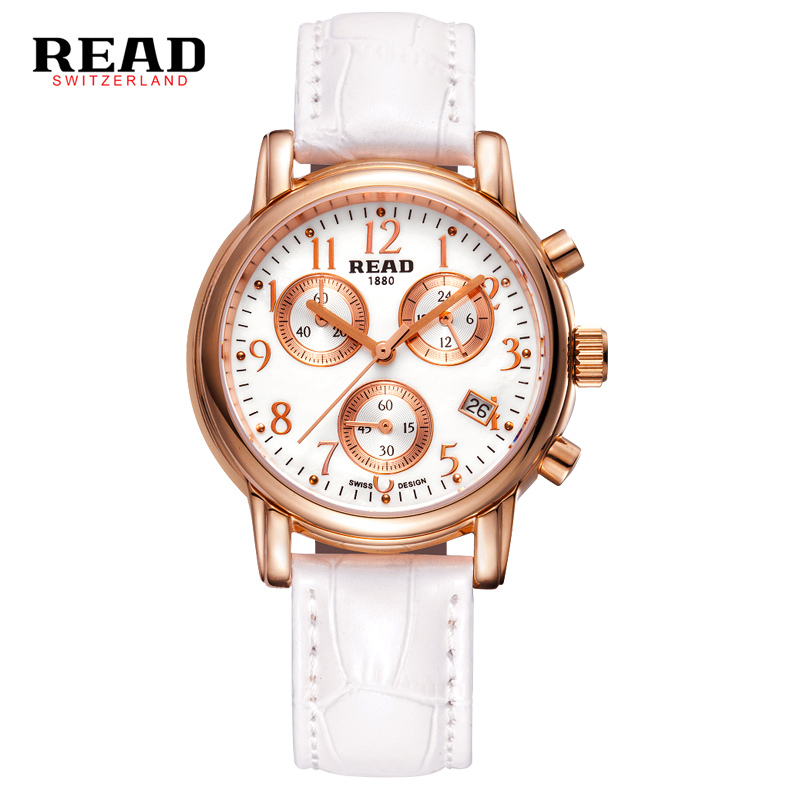 READ 2017 new second hand white wrist strap for leather watchband rose gold watches women fashion 2017 calendar display 7003