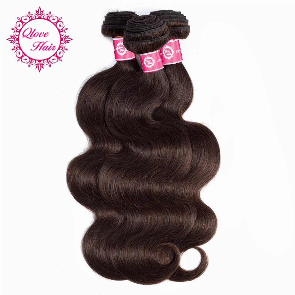 Qlove Non-Remy Ombre 100% Human Hair Body Wave Indian Hair 3 Bundles #2 Color Hair Machine Double Weft