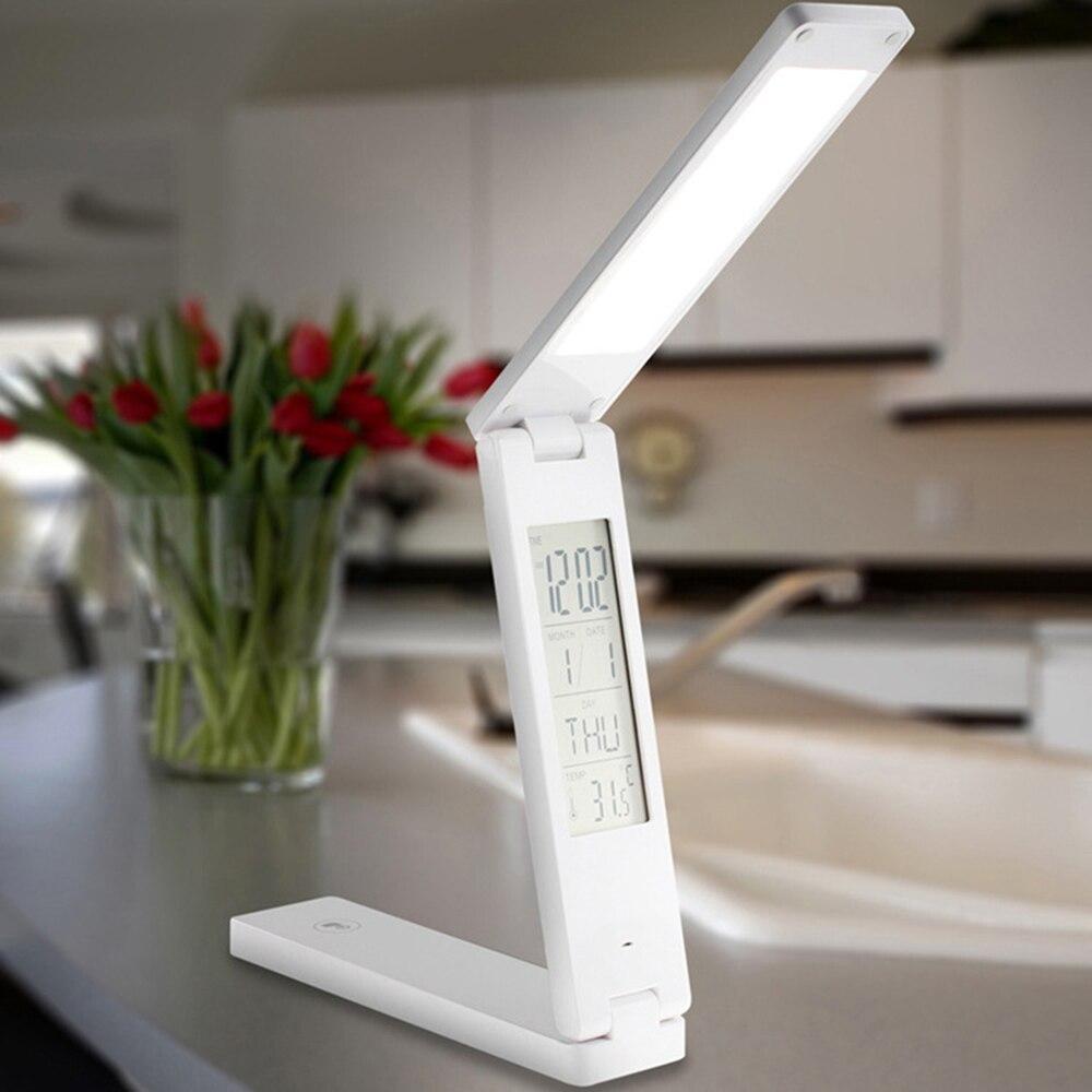 Multifonction LED Lampe De Bureau Avec Alarme Horloge Pliable Dimmable Lampe De Table De Bureau Calendrier Température Atmosphère Couleurs Changeantes