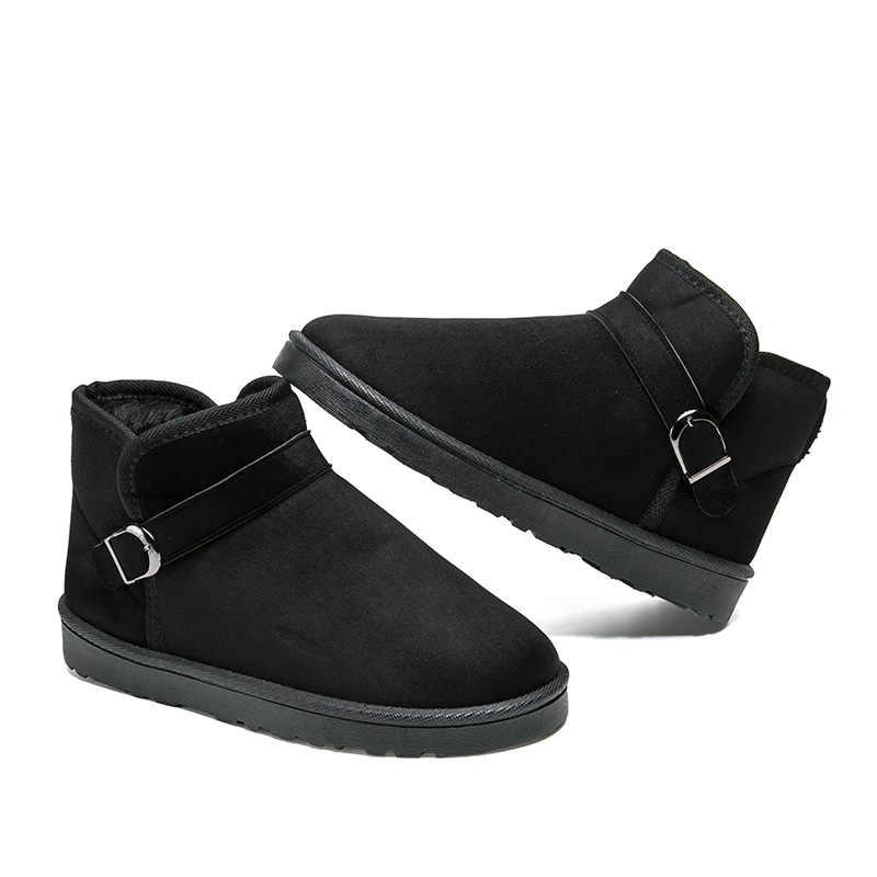 JKPUDUN Winter Schnee Stiefeletten Männer Luxus Marke Mode Super Warm Flock Stiefel Männer Casual Schuhe Schnalle Stiefel Mann botas
