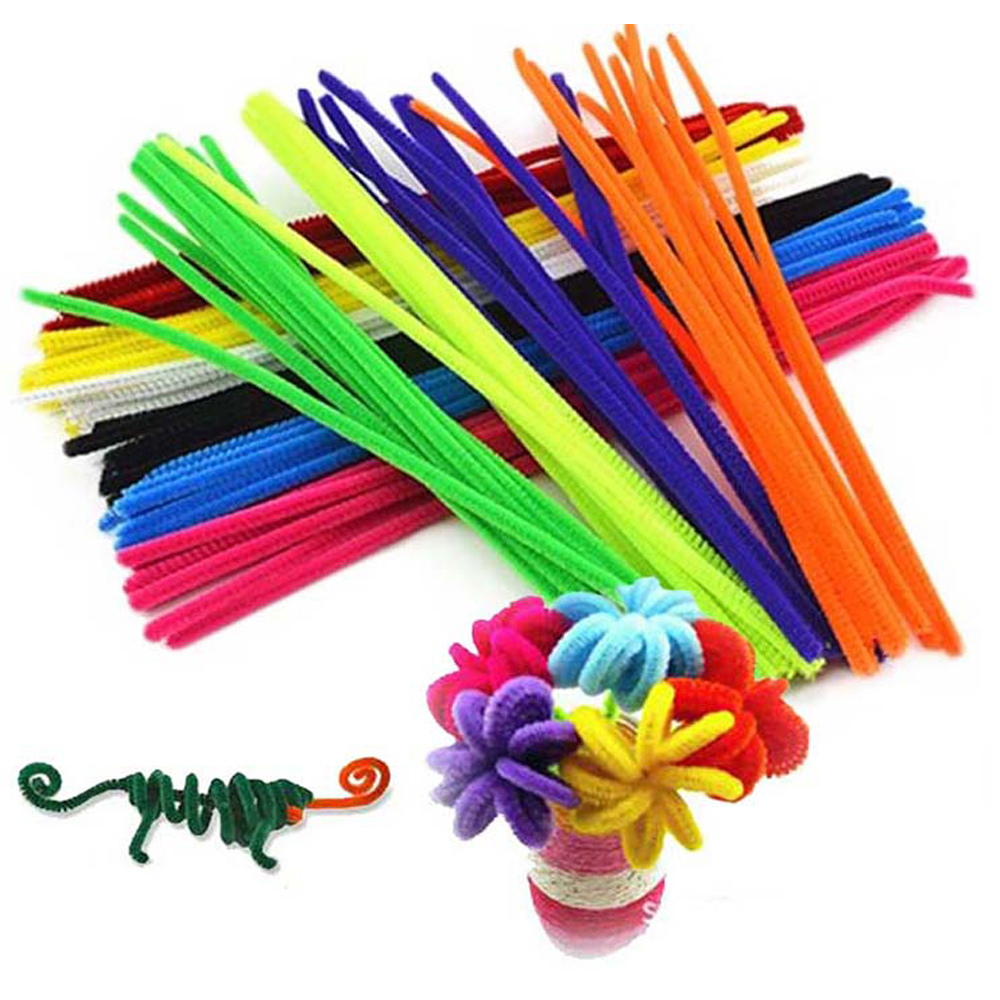 100pcs Montessori Materials Chenille Children Educational Toy Crafts For Kids Colorful Pipe Cleaner Handmade DIY Toys