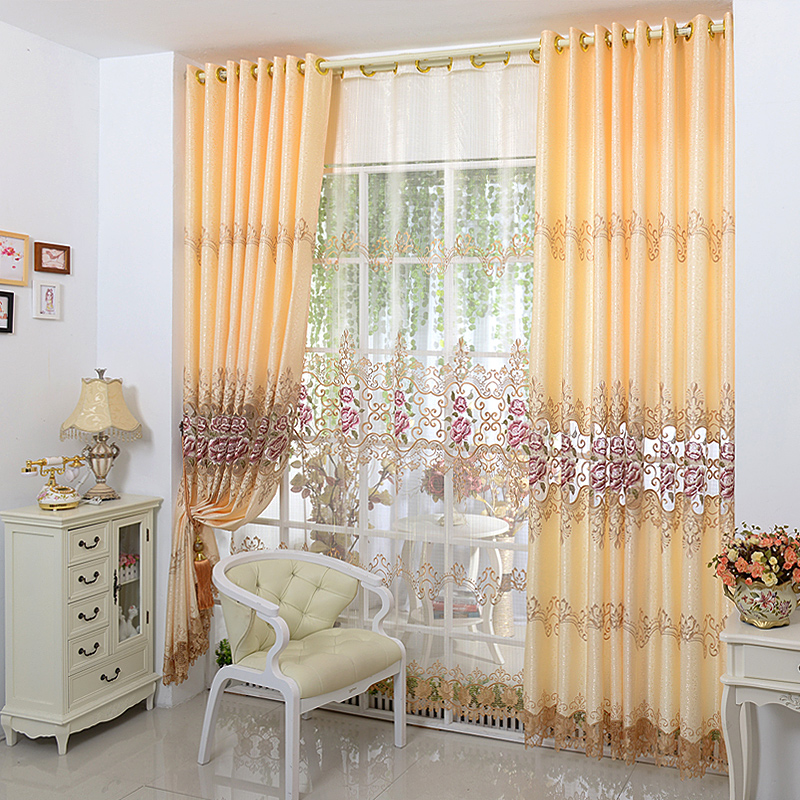 2017 New Europe Embroidered Tulle Window Curtains